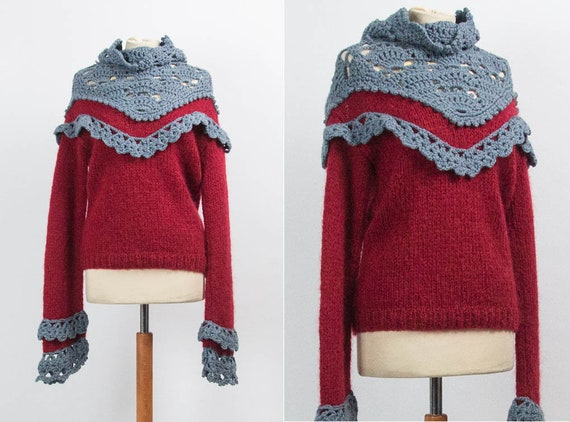 Wool Top, 70s Vintage, Boho Jumper, Hand Knitted, Grey Red, Pullover Vintage, Size Medium, Seventies, 1970s Style