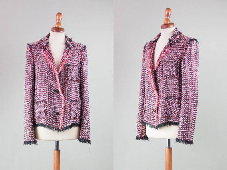 lanvin jacket boucle / vintage squares jacket made in france / image 0