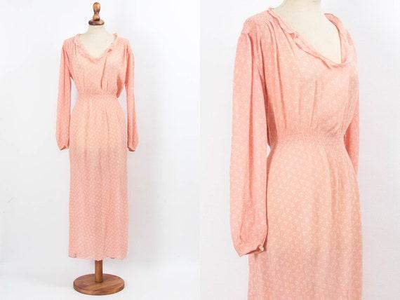 40s Robe, Vintage Robe, Romantic Dress, Pink Robe,