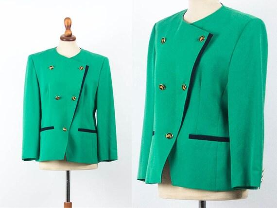 Vintage 1980s Blazer, 80s Vintage Blazer, Green Bl