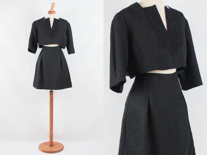 70s vintage dress black seventies two pieces dress black image 0