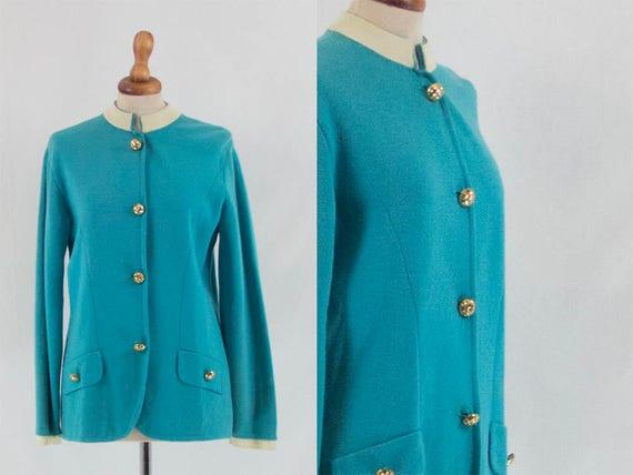 50s Vintage Sweater, Blue, Woolen Cardigan, 50s 60