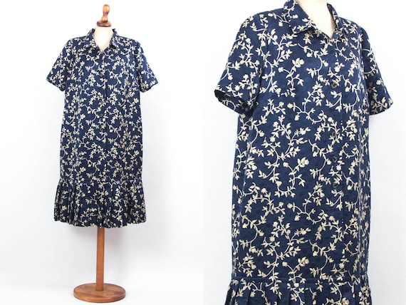 40s Summer Dress, Vintage 1940s Dress, Blue White