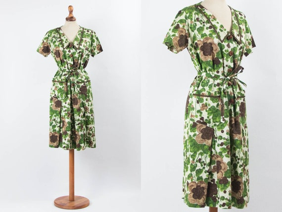 Vintage 40s Dress, 40s Floral Dress, 1940s Dress,