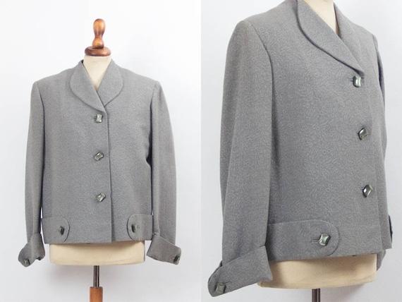 1950s Jacket Vintage, 50s Jacket, Grey Color, 50s