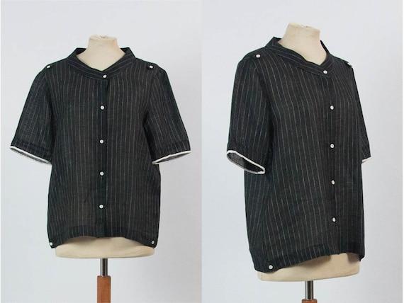 Linen Blouse, 70s Vintage, Black Blouse, Pinstripe