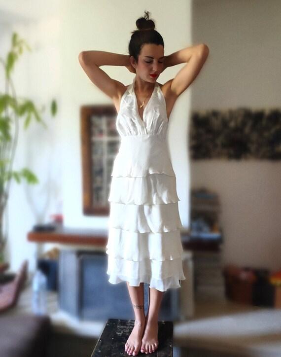 White Dress, Silk, Vintage White Dress, Flounced D