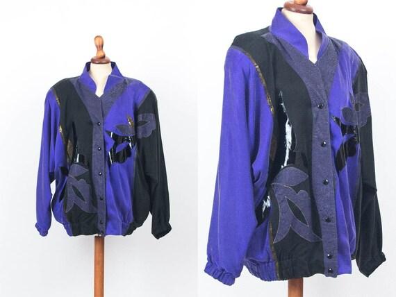 80s Oversize Jacket, Silk Bomber Jacket, Purple Bl