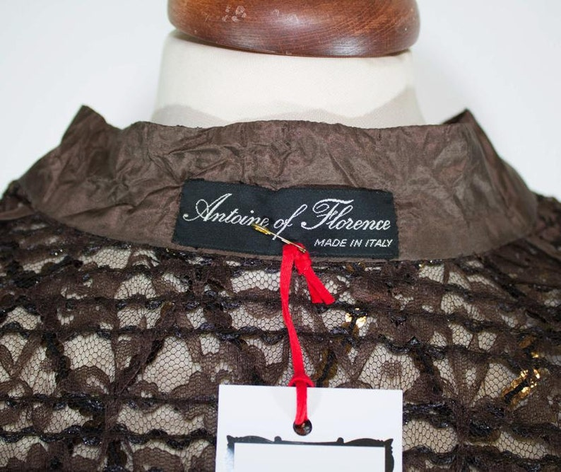 Vintage shirt  70s  Brown sequin top  brown sequin seventies blouse  See-through top