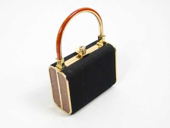 Black Purse, Lucite Handbag, 70s Purse Bag, Elegan