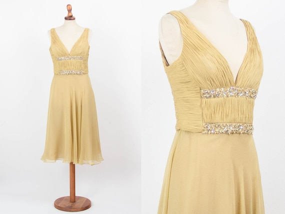 Vintage Silk Dress, Gold Yellow Dress, Rhinestone,