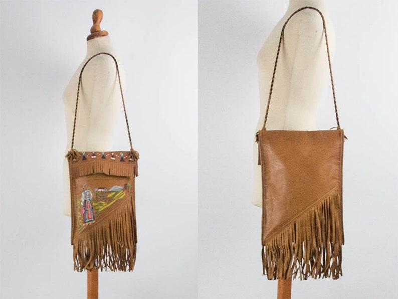 49581e398f194 70er Jahre Vintage von handbemalt Handtasche von Hand