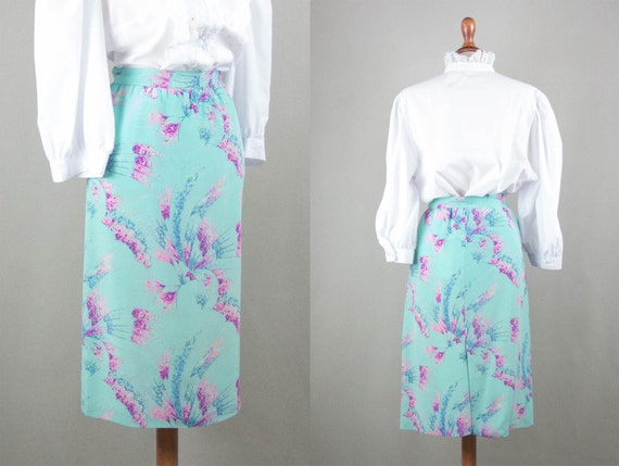 Vintage Silk Skirt Late 70s Sartorial Aquamarine P