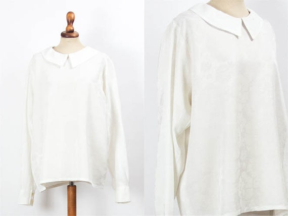 Long Sleeve White Shirt, White Silk Blouse, 60s Vi