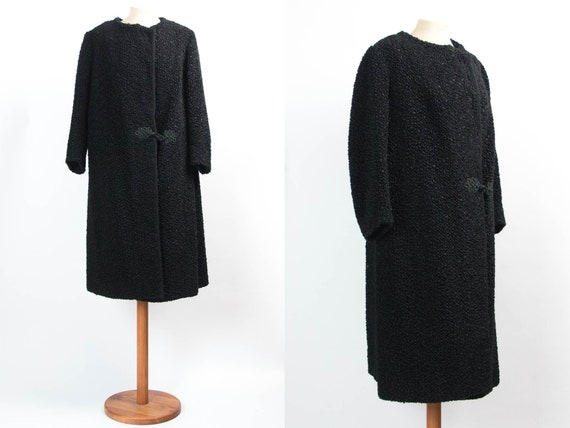 50s 60s Black Coat, Vintage Coat, Synthetic  Fur C
