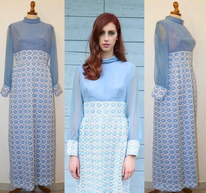 Vintage 60s maxi dress / 60s / Sartorial blu white lace dress image 0