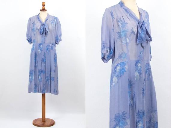 40s Swing Dress, Vintage Swing Dress, Light Blue D