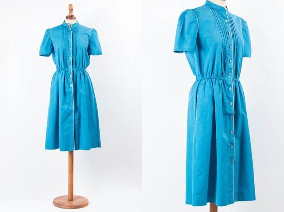 70s Vintage Dress, 40s Style Dress, Turquoise Blue