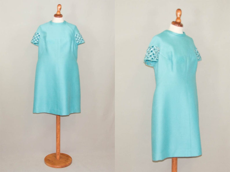60s dress turquoise / A line dress / jackie kennedy style / sartorial made  beads dress / collection blue dress / size L