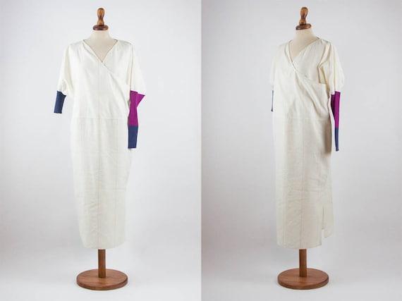 80s Vintage Dress, Cotton Linen, V Neck Dress, Asy