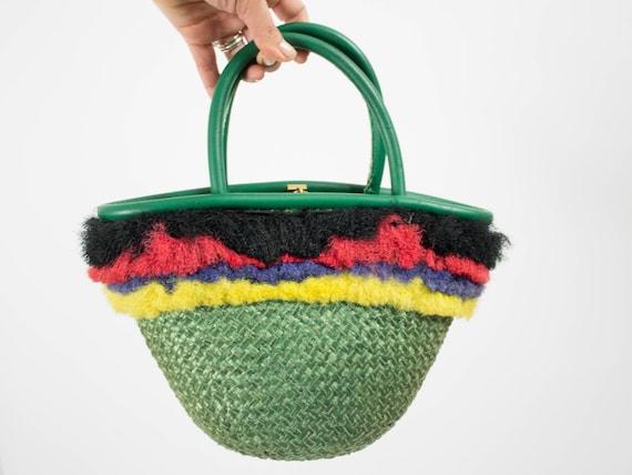 Vintage Raffia Handbag, 1960s Handbag, Vintage Sum