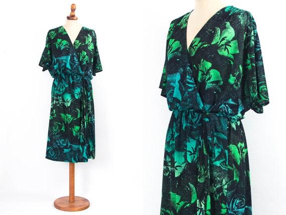 Boho Dress Vintage, 70s Floral Dress, Green, Flora