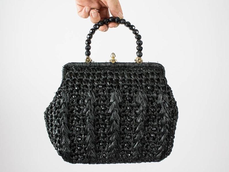 50s Vintage Bag Fifties Authentic Raffia Handbag Summer image 0