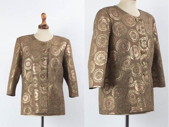 60s Vintage Blazer, Metallic Blazer, Brown Gold Co