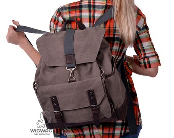 Women's backpack, men's backpack, canvas backpack, womens canvas leather backpack, convertible canvas leather backpack, large backpack