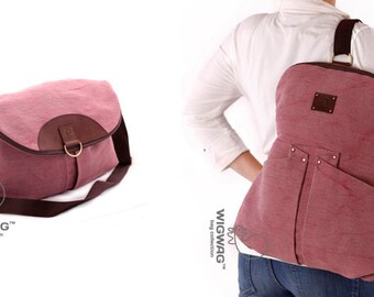 Womens canvas backpack, leather canvas bag, convertible backpack, womens backpack, convertible crossbody, convertible messenger, canvas bag