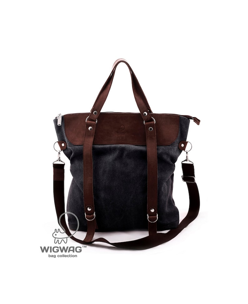 abd764eaa87 Large women's bag, waxed canvas bag, shoulder bag, canvas bag, convertible  messenger, waxed canvas leather bag, womens gray backpack