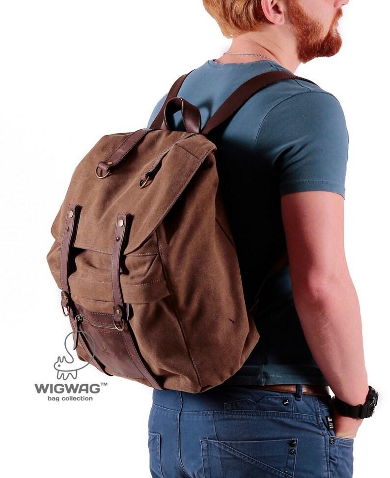 c7c36608f1aee Męski plecak płótnie skórzany plecak męski Płócienna torba | Etsy
