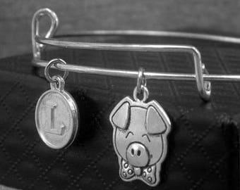 Pig Bracelet -Piggie Charm Bangle -Expandable Bangle -Initial Charms Bracelet -Your Choice of A to Z