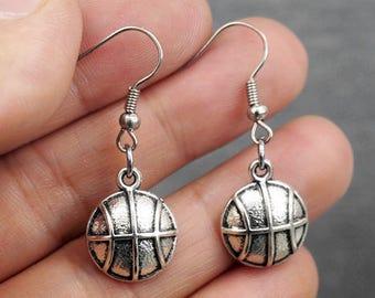 Silver Basketball Earrings -Sports Earrings -Dangle Earrings -Gift For Her