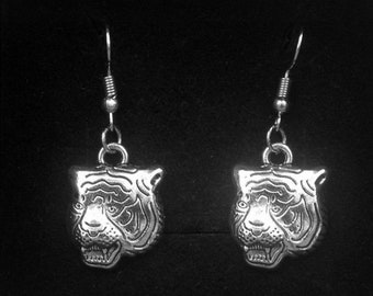 Silver Tiger Earrings -Animal Jewelry -Dangle Drop Earrings -With Gift Box