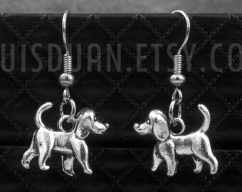 Silver Cute Dog Earrings -Gift For Pet Lovers -Animal Jewelry -With Gift Box