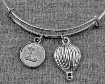Silver Hot Air Balloon Bracelet -Fire Balloon Bangle -Best friend Bracelet -Initial Charms Bracelet -Your Choice of A to Z