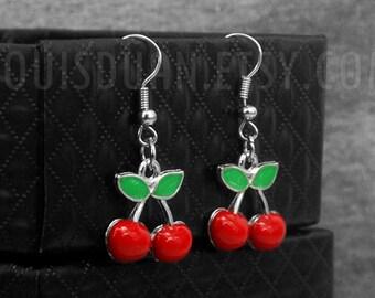 Cherry Earrings -Fruit Earrings -Dangle Earrings -With Jewelry Box