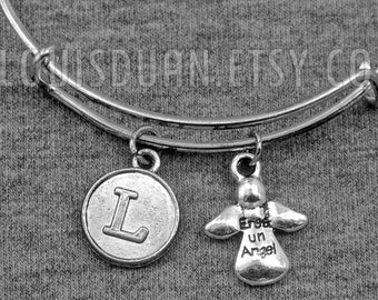 Silver Angel Bracelet -Eres Un Angel -You are an Angel -Expandable Bangle -Initial Charms Bracelet -Your Choice of A to Z