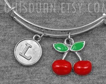 Cherry Bracelet -Fruit Bracelet -Expandable Bangle -Initial Charms Bracelet -Your Choice of A to Z
