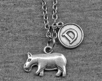 Silver Hippo Necklace -River Horse Pendant -Initial Charm Necklace -Your Choice of A to Z