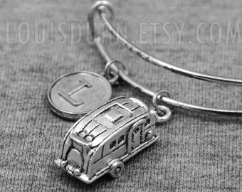 Caravan Bracelet -Trailer -Camper -Camping -Gypsy -Expandable Bangle -Initial Charms Bracelet -Your Choice of A to Z