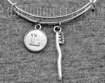 Silver Toothbrush Bracelet -Toothbrush Bangle -Expandable Bangle -Initial Charms Bracelet -Your Choice of A to Z