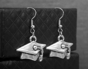 Silver Mortarboard Cap Earrings -Laurea Hat Earrings -Graduation Gift -Dangle Earrings -Gift For Her