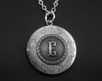 Initial Locket -Letter Photo Locket -Monogram Locket Necklace -Wedding Jewelry -Your Choice of A - Z