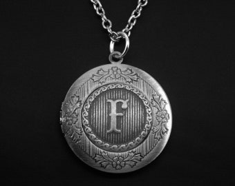 Initial F Locket -Letter F Photo Locket -Monogram Locket Necklace -Wedding Jewelry -Your Choice of A - Z