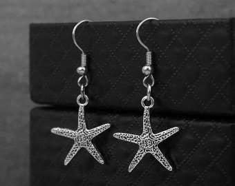 Silver Starfish Earrings -Oceanic Earrings -Dangle Earrings -Gift For Her