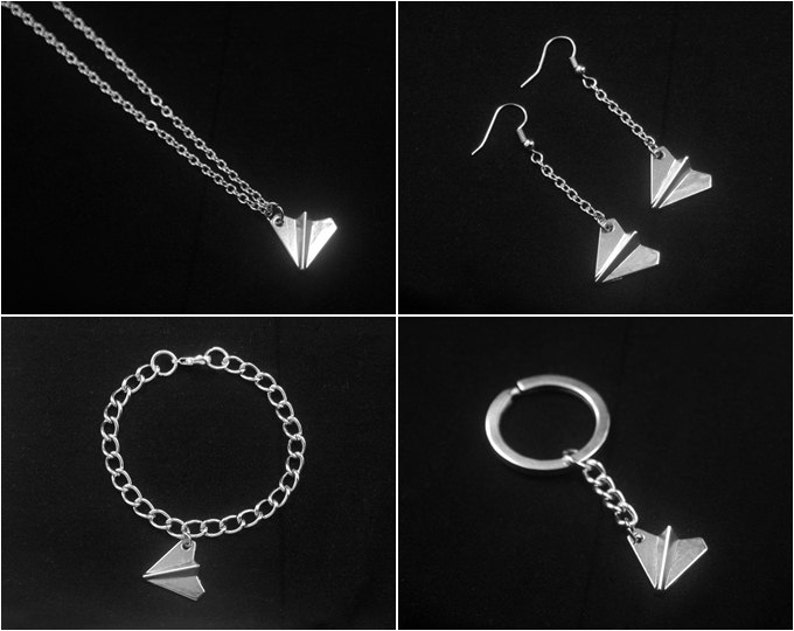 Tiny Paper Plane Earrings Paper Plane Key chain Paper Plane Bracelet Silver Paper Plane Necklace