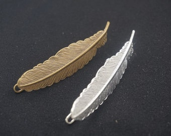 10pcs Copper Feather Hair Pin Barrette Frog Clips hairpins Bobby Pin Hairclip 53x12mm, Antique Bronze, Silver for Choice -- Z07159