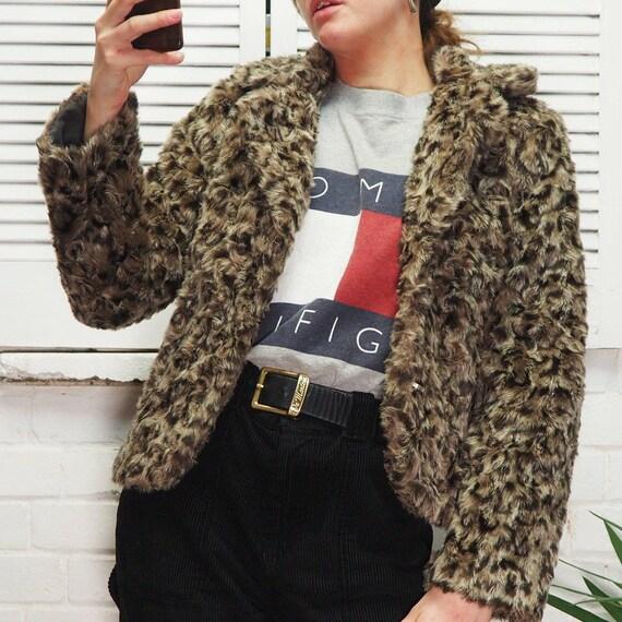 Vintage 90s Brown Leopard Print Style Faux Fur Coa